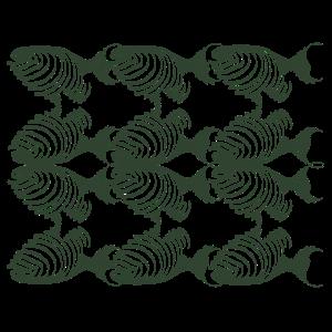 Grafische Fische Graugrün