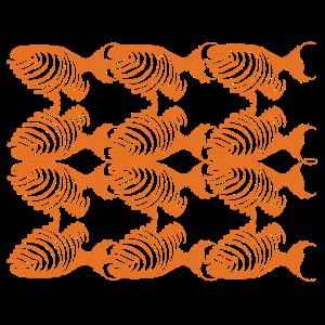 Grafische Fische Orange