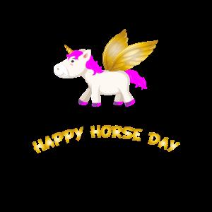 Einhorn mit Flügeln flying Unicorn Happy Horse Day