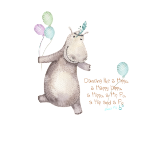 Happy Hippo Dance with balloons and boho feathers