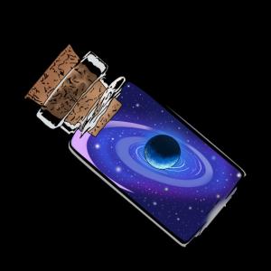 Universum mit Planet in Glas Flasche Geschenkidee