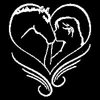 Frau küsst Pferd Silhouette