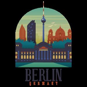 Berlin Retro Vintage Hauptstadt Skyline Geschenk