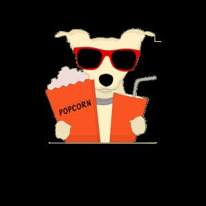 Cooler Hund mit Sonnenbrille Popcorn und Shake