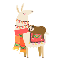 Cute Sloth Sleeping On Llama Gift