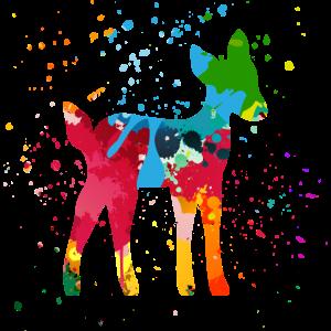 Reh Rehkitz bunt Farbklecks farbenfroh fröhlich