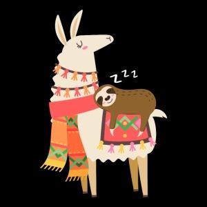 Cute Sloth Sleeping On Llama Gift