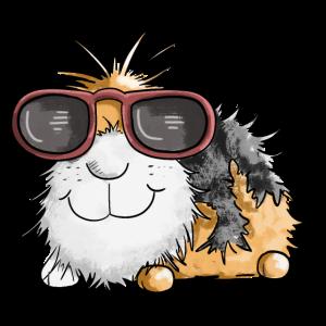Cooles Meerschweinchen mit Brille I Comic Geschenk