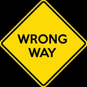 WRONG WAY Yellow Road Sign
