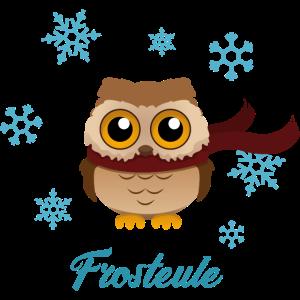 Frosteule Frostbeule eule mit schal