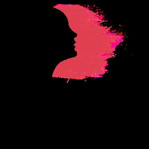 Windy Hair Silhouette Hangemalte Grafik
