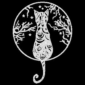 Katze Rücken Sterne Wald Mystisch