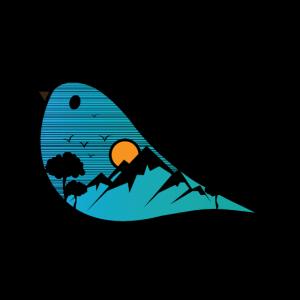 Blauer Vogel-Natur-Karikatur