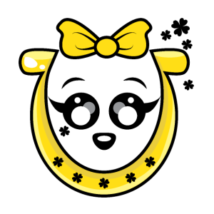 Yellow Horse Shoe mit gelber Band-Karikatur