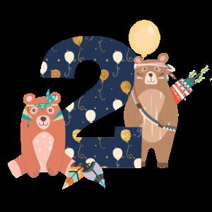 2. Geburtstag Kinder Baby Bären Indianer Boho 2th