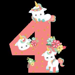 4. Geburtstag Zahl Kinder Einhörner Baby Tiere 4th