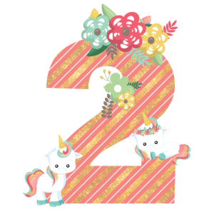 2. Geburtstag Einhörner Unicorn Kinder Baby 2th