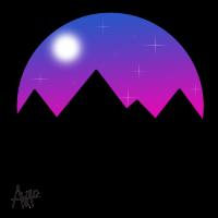 Berge Sternenhimmel und Vollmond