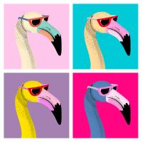 Flamingo Pop Art 50s 60s 70s 80s Retro Vintage