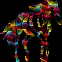 abstrakt bunt gemustertes Pferd