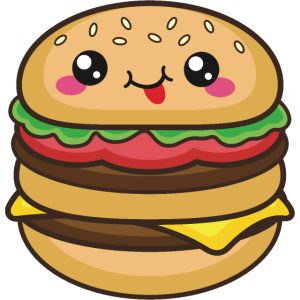 Niedlicher Burger groß Smile Kawaii