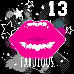 Kussmund Pink Nummer 13 - 13. Geburtstag Graffiti