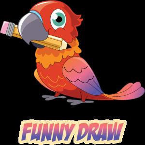 Lustiger Papagei im Zeichentrick style.