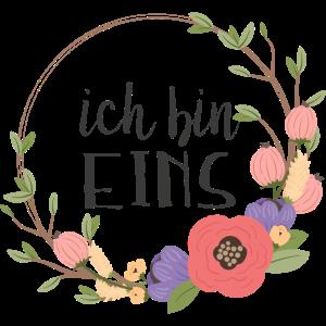Ich bin eins - erster Geburtstag mit Blumen