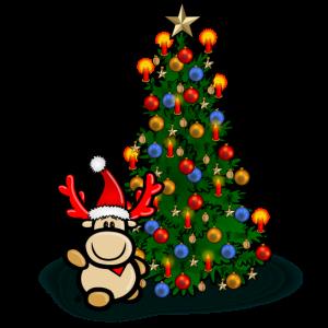 Elch Elmondo mit geschmücktem Weihnachtsbaum