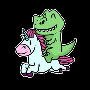 Einhorn Dinosaurier Comic Märchen Geschenk Idee