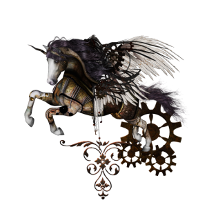 Wunderbares dunkles Steampunk-Einhorn mit Flügeln