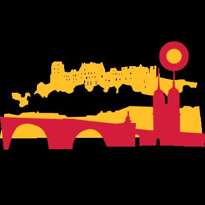 Heidelberg - Heidelberg - Stadtansicht in Schwarz-Rot-Gold. Ihr könnte die Farben auch nach Lust und Laune ändern. Für Studenten, Touristen und Heidelberg-Fans. - Verbindung,Tourist,Studium,Student,Stadt,Skyline,Romantik,Jurist,Heidelberg,Germany,Deutschland