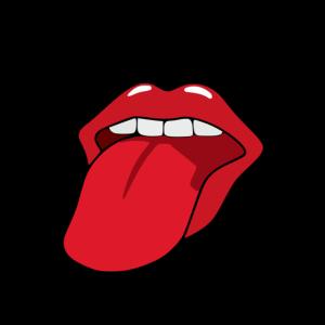 Mund mit Zunge vor Karomuster