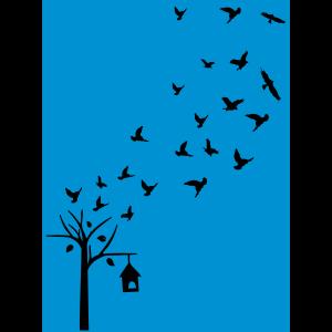 Tress & Fliegen Vögel auf dem blauen Hintergrund