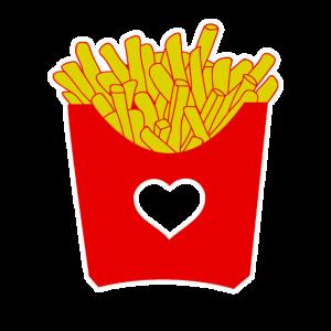 Pommes Liebe Fast Food Herz Geschenkidee Foodporn