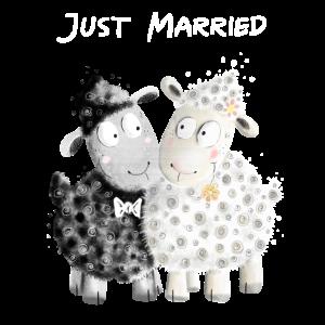 Just Married Schafe Brautpaar I Hochzeit Geschenk
