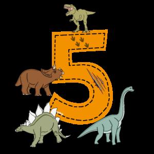 Geburtstag 5 Jahre Dino, Dinosaurier T-Shirt Fünf