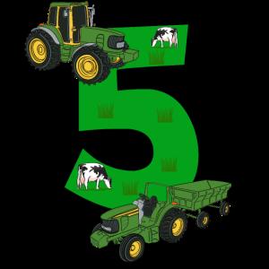 Geburtstag 5 Jahre Traktor, Trecker T-Shirt Fünf