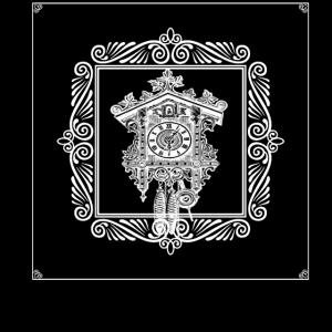 Uhr und Rahmen schwarzweiß