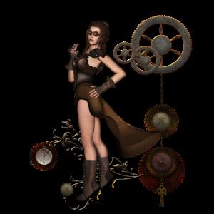 Wunderbare Steampunk-Dame mit Uhren und Ausrüstung