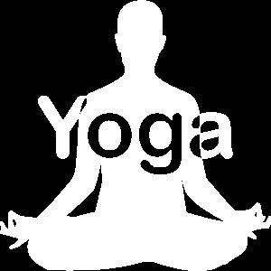 Yoga Schneidersitz Schrift mittig weiß