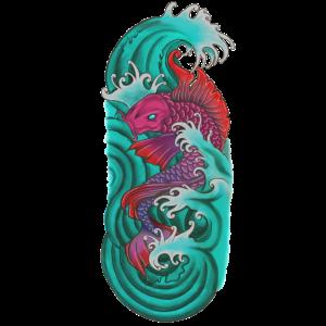 Japanische koi Fische rotes Purpur
