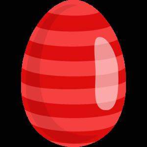 Osterei Rot gestreift