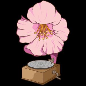 Musik spielende Lotusblume Plattenspieler