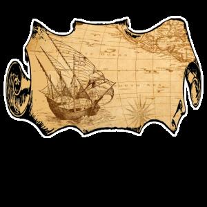 Piraten Schatzkarte Seekarte Segeln Shirt Geschenk