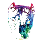 Pitbull Fractalius Kopf Silhouette Hund