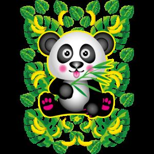 19 Panda Bär mit Bambus Bananen Dschungel Blätter