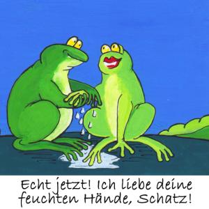 Froschpärchen hält Händchen