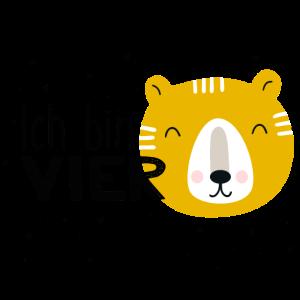 4. Geburtstag, vierter, vier, Bär, Tiger, Birthday