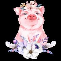 Schwein Schweinchen Boho Blumen Geschenk Geburt